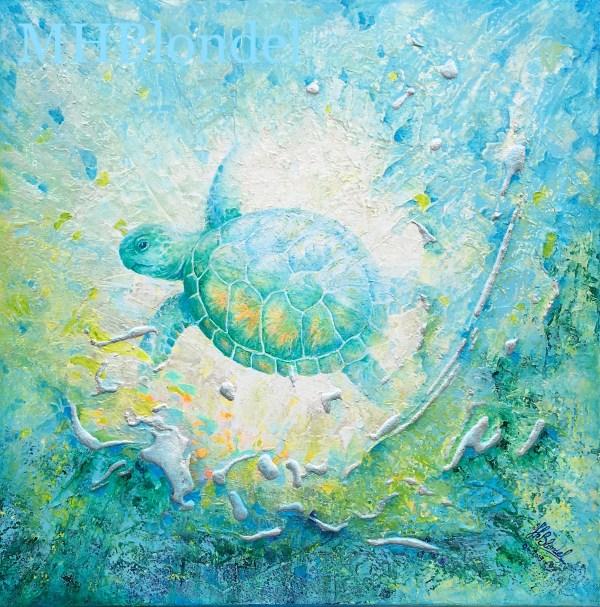 Totem Tortue- Acrylique sur toile – 50 X 50 cm – 350€