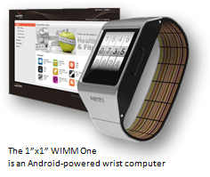 "The 1""x1"" WIN One shown here is an Android-powered wrist computer."