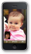iPhone4s showing Facetime with granddaughter