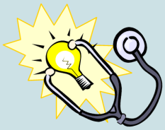 Healthcare Innovation shows a stethoscope on a lightbulb