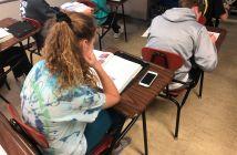 Tasha Greene 20' studies over her AP Human Geography textbook.