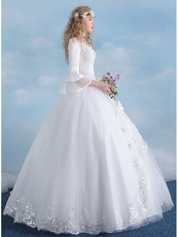 A Line Ball Gown Floor Length Tulle Lace V Neck Wedding Dress