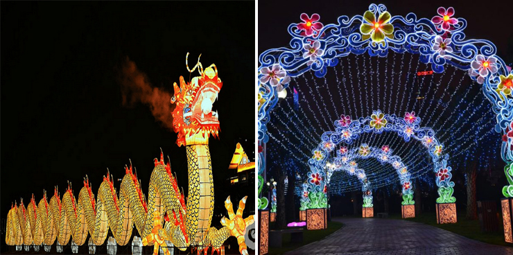 Photo (LEFT): Lantern Light Dragon, (RIGHT) Lantern Light Entrance.