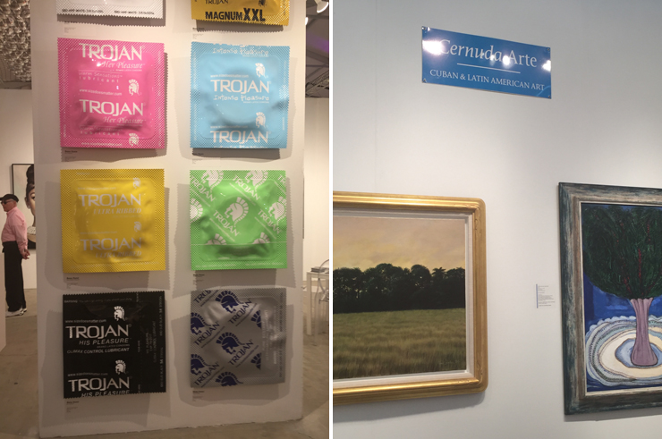 LEFT: Beau Dunn at Oliver Cole Gallery, RIGHT: Mario, Victor and Rene at Cernuda Arte. (Photo by Monica Torres)
