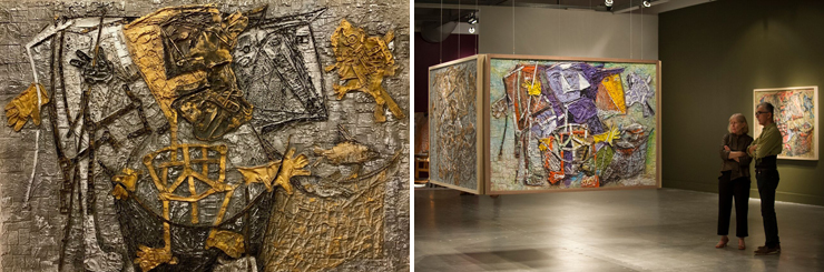 LEFT: Harnessing the White Cow. RIGHT: Large scale paintings.