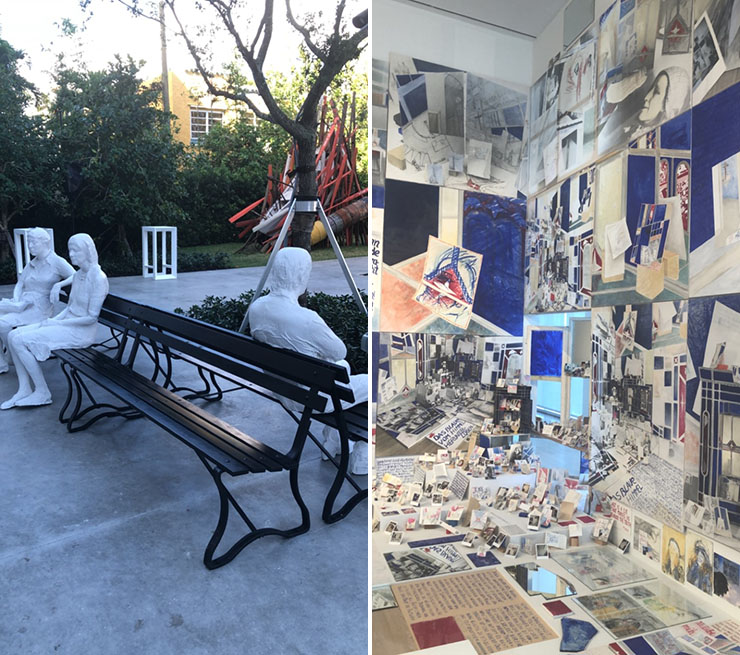 LEFT: George Segal Three Figures and Four Benches, 1979 | RIGHT: Anna Oppermann, Paradoxe Intentionen, 1988-92