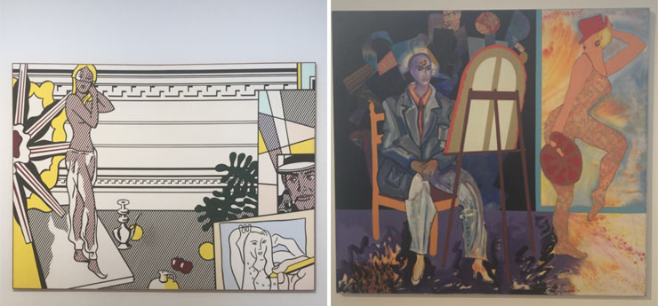 LEFT: Roy Lichtenstein, Artist's Studio with Model, 1974 | RIGHT: Miriam Schapiro Time, 1988-91