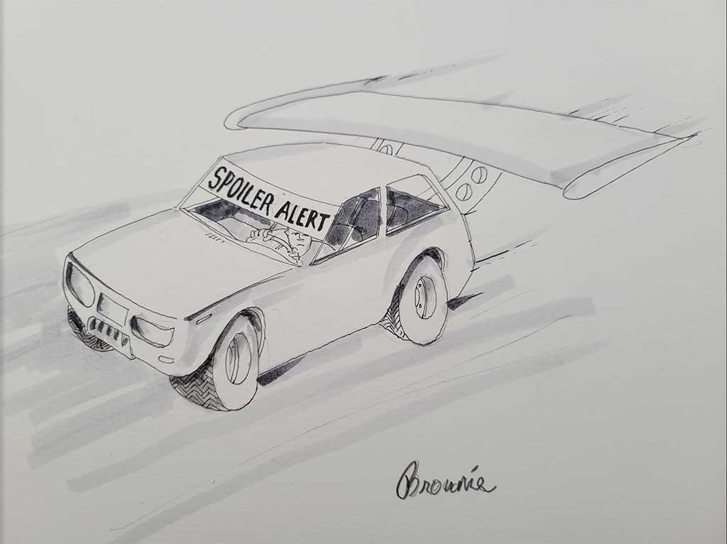 Spoiler Alert CARtoon by artist Dan Brown