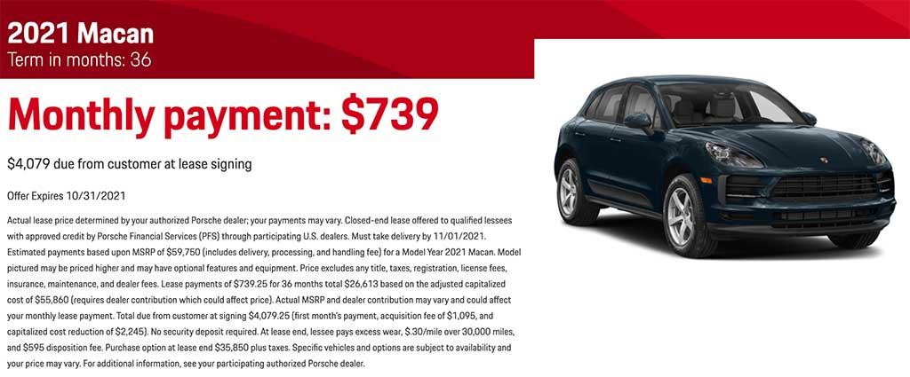 2021 Porsche Macan - $738 per month - $4079 Down - 36 Monthsin months: 36