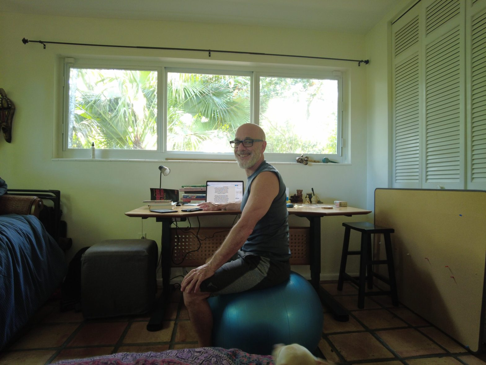 Standing desk and stability ball