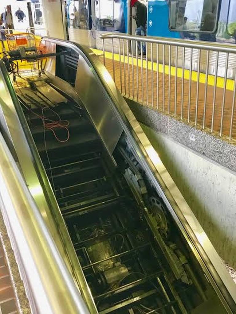A broken Metrorail station escalator is indicative of a larger maintenance problem, regular riders say.