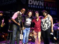 Left to right: Oriente's William Paredes, Yoel Del Sol and Eddy Balzola; vocalist Yvonne Brown