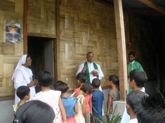Bishop George Blessing the New Hostel, Loiliang