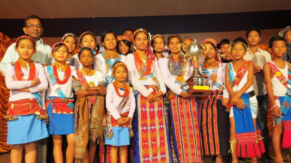 Students of St. Savio School with their Champions' Trophy