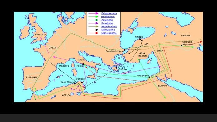 Mapa de las principales herejías disiendas y cismas en los primeros siglos