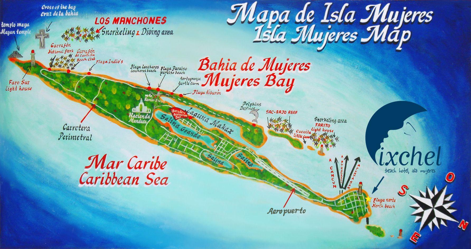 mapa playa paraíso isla mujeres