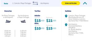 horario y tarifa ferry playa tortuga a Isla Mujeres
