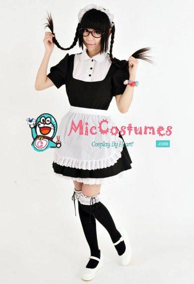 classic japanese maid cotton costume