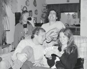L-R Me sucking on a Leinie, radio legends Lin Brehmer and Harvey Kojan and, I think, Brehmer's gf. Albany 1980.