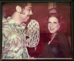 Bette Midler backstage at the Armadillo World Headquarters 1973. With Lucky Attal.