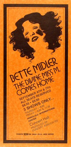Bette Midler's first concert back home in Honolulu. I was there. 9/6/1973