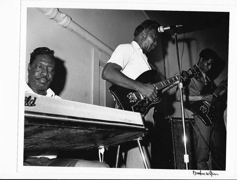 """Otis Spann, Muddy Waters, Luther """"Georgia Boy Snake"""" Johnson at the Vulcan in 1968. First night of two."""