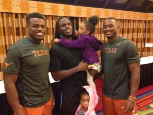 Jamaal Charles meets with Horns RBs Malcolm Brown and Johnathan Gray before Kansas game.