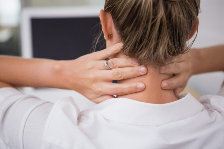 Woman with chronic neck pain