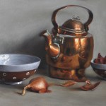 Antique Kettle and Bowls, 2015, oil on panel, 12x20in (30x50cm)