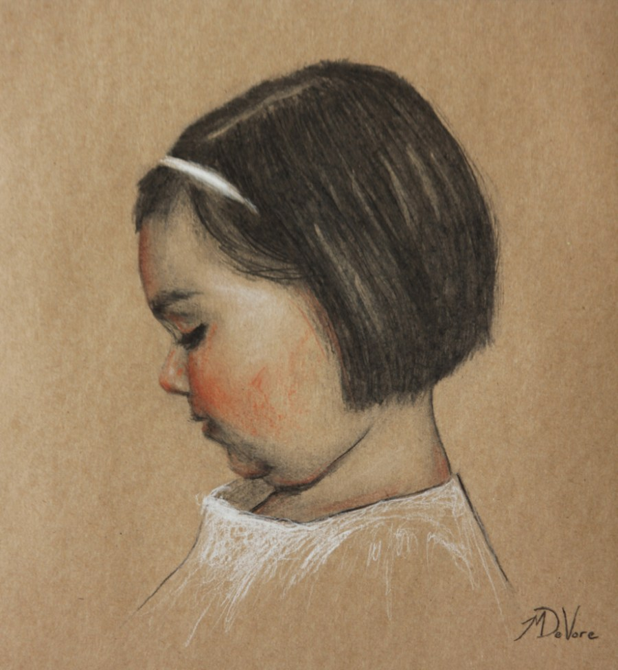Ella, 2014, charcoal and chalk on paper, 11x10in (28x25cm)