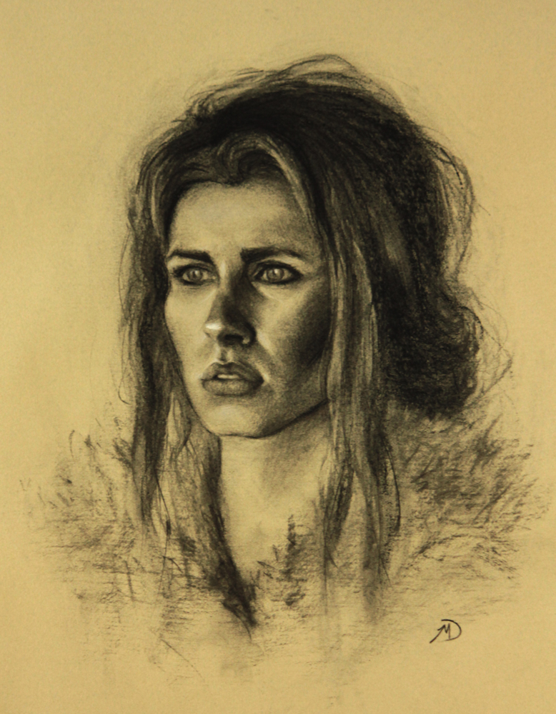 Girl in Fur, charcoal and chalk on paper, 2012, 13x17in(33x43cm)