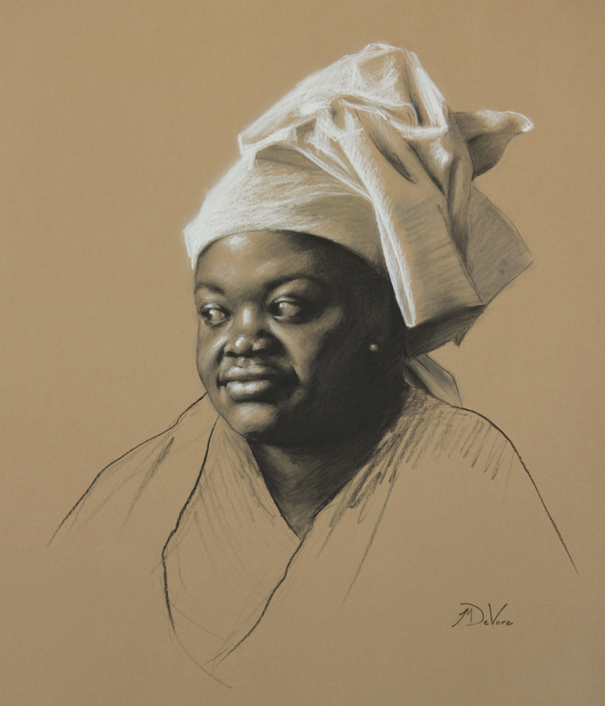 Girl With Head Wrap, 2014, charcoal and chalk on paper, 21x18in (53x46cm)