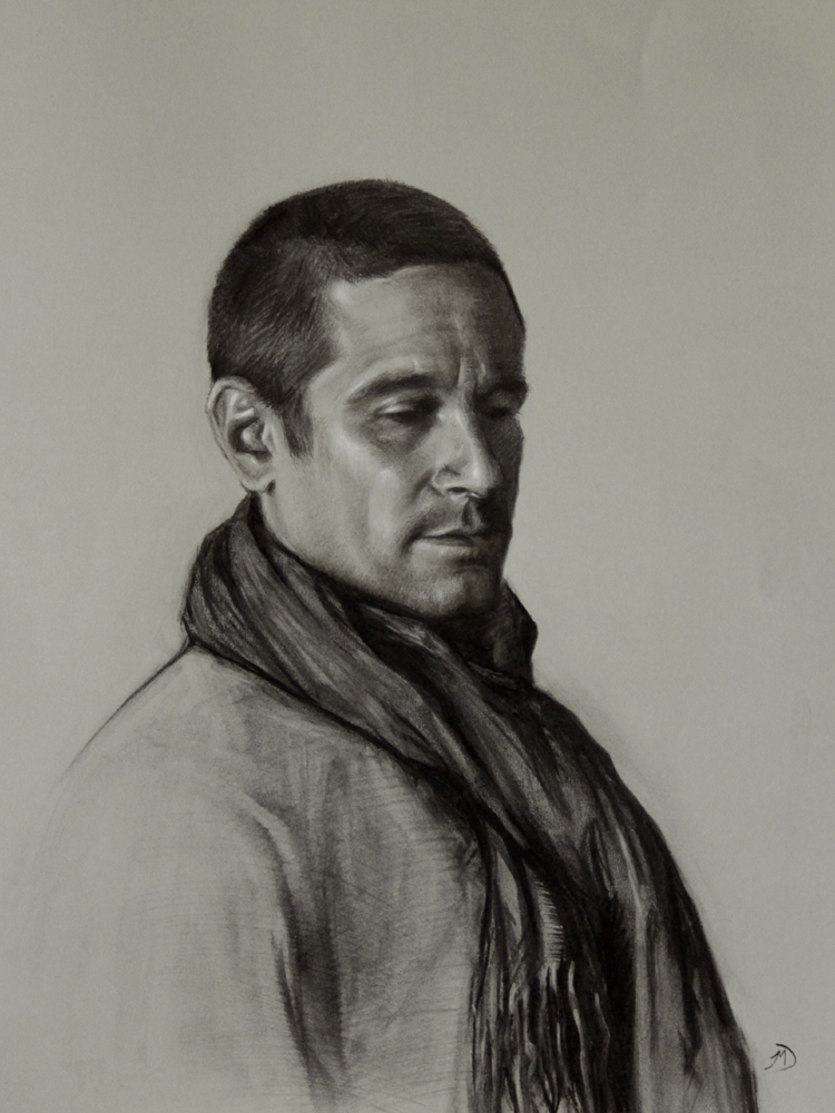 Man with a Scarf, 2012, charcoal and chalk on paper, 18x24in (46x61cm)