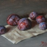 Plums From The Garden, 2014, oil on panel, 6x8in (15x20cm)