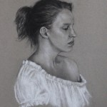 Portrait of Katie, 2011, charcoal and chalk on paper, 12x16in (30x40cm)