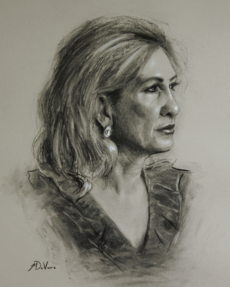 Portrait of My Mother, 2013, charcoal and chalk on paper, 20x16in (50x40cm)
