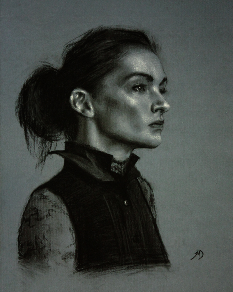 Portrait of Valeri,2012, charcoal and chalk on paper, 16x20in (40x50cm)