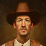 Self-Portrait in Great-Grandfather's Hat, 2012, oil on panel, 6x8in (15x20cm)