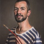Self-Portrait with Red Brush, 2014, oil on linen, 20x16in (50x40cm)