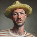 Self-Portrait in Straw Hat, 2015, oil on panel, 12x12in (30x30cm)