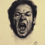 Self-Portrait Screaming, 2012, charcoal on paper, 9x11in (23x28cm)