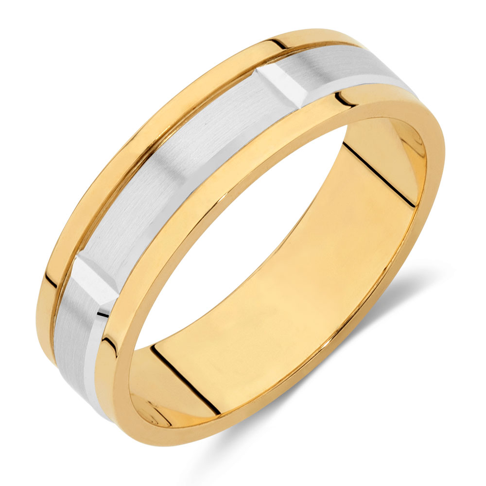 Men39s Wedding Band In 10kt Yellow White Gold