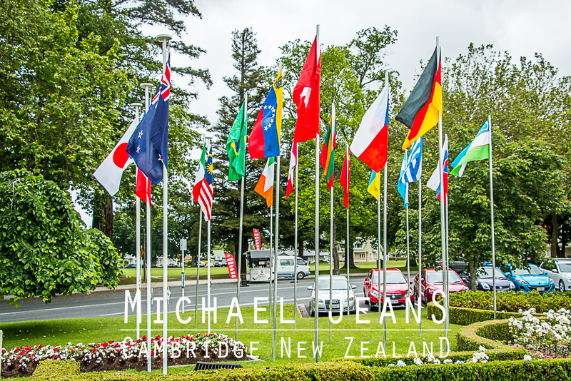UCI Track Cycling World Cup flags Jubilee Gardens Cambridge New Zealand