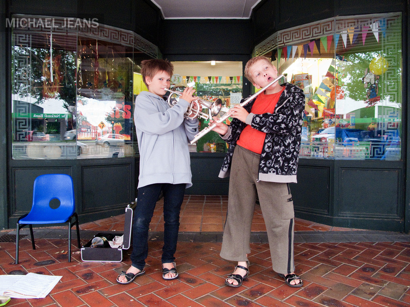Busking in Victoria Street, Cambridge CBD, New Zealand