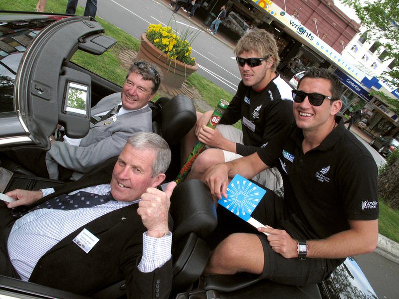 Peter Lee, Grahame Webber with rowers Tyson Williams and Jade Uru