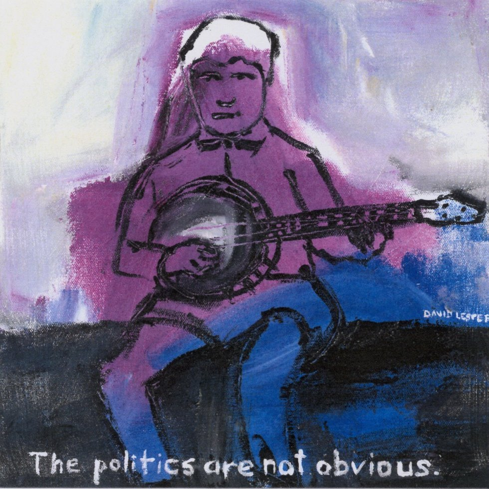 David Lester The politics are not obvious 12 x 12 acrylic on canvas