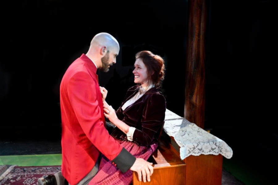 Vance Smith as Vershinin and Lindsey Gavel as Masha in The Hypocrites Three Sisters