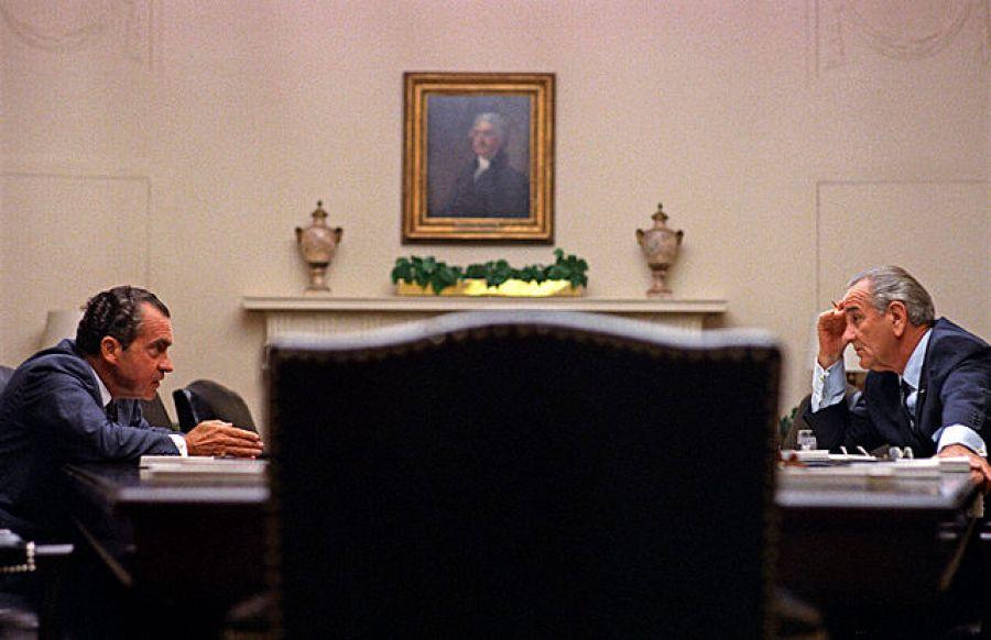 Lyndon Johnson and Richard Nixon at the White House in 1968. Via Wikimedia Commons