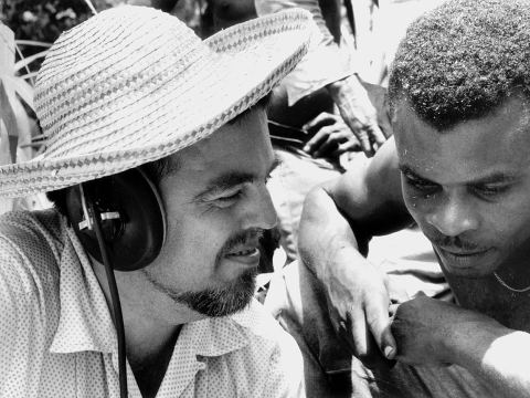 Alan Lomax recording in Dominica, 1962. Photo by Antoinette Marchand.