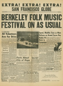 SF Globe Berkeley Folk Music Festival On As Usual 1968